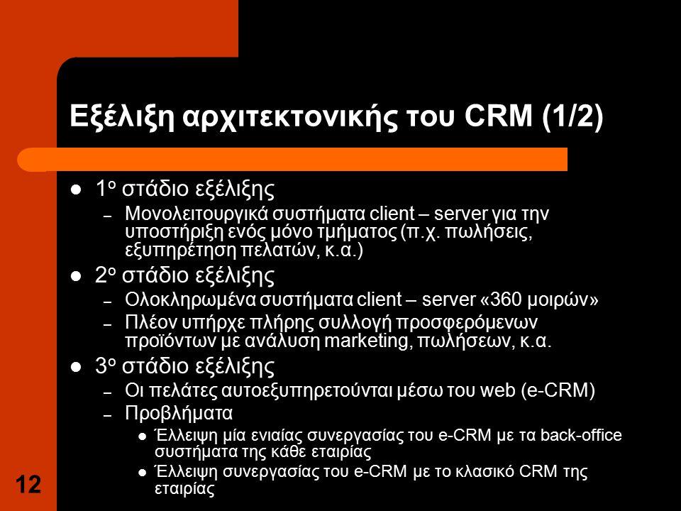 12 Εξέλιξη αρχιτεκτονικής του CRM (1/2) 1 ο στάδιο εξέλιξης – Μονολειτουργικά συστήματα client – server για την υποστήριξη ενός μόνο τμήματος (π.χ.