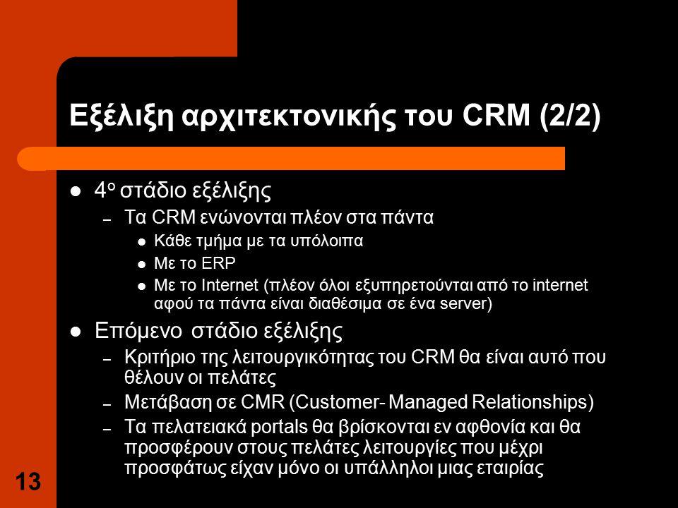 13 Εξέλιξη αρχιτεκτονικής του CRM (2/2) 4 ο στάδιο εξέλιξης – Τα CRM ενώνονται πλέον στα πάντα Κάθε τμήμα με τα υπόλοιπα Με το ERP Με το Internet (πλέον όλοι εξυπηρετούνται από το internet αφού τα πάντα είναι διαθέσιμα σε ένα server) Επόμενο στάδιο εξέλιξης – Κριτήριο της λειτουργικότητας του CRM θα είναι αυτό που θέλουν οι πελάτες – Μετάβαση σε CMR (Customer- Managed Relationships) – Τα πελατειακά portals θα βρίσκονται εν αφθονία και θα προσφέρουν στους πελάτες λειτουργίες που μέχρι προσφάτως είχαν μόνο οι υπάλληλοι μιας εταιρίας