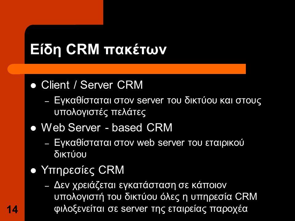Είδη CRM πακέτων Client / Server CRM – Εγκαθίσταται στον server του δικτύου και στους υπολογιστές πελάτες Web Server - based CRM – Εγκαθίσταται στον web server του εταιρικού δικτύου Υπηρεσίες CRM – Δεν χρειάζεται εγκατάσταση σε κάποιον υπολογιστή του δικτύου όλες η υπηρεσία CRM φιλοξενείται σε server της εταιρείας παροχέα 14