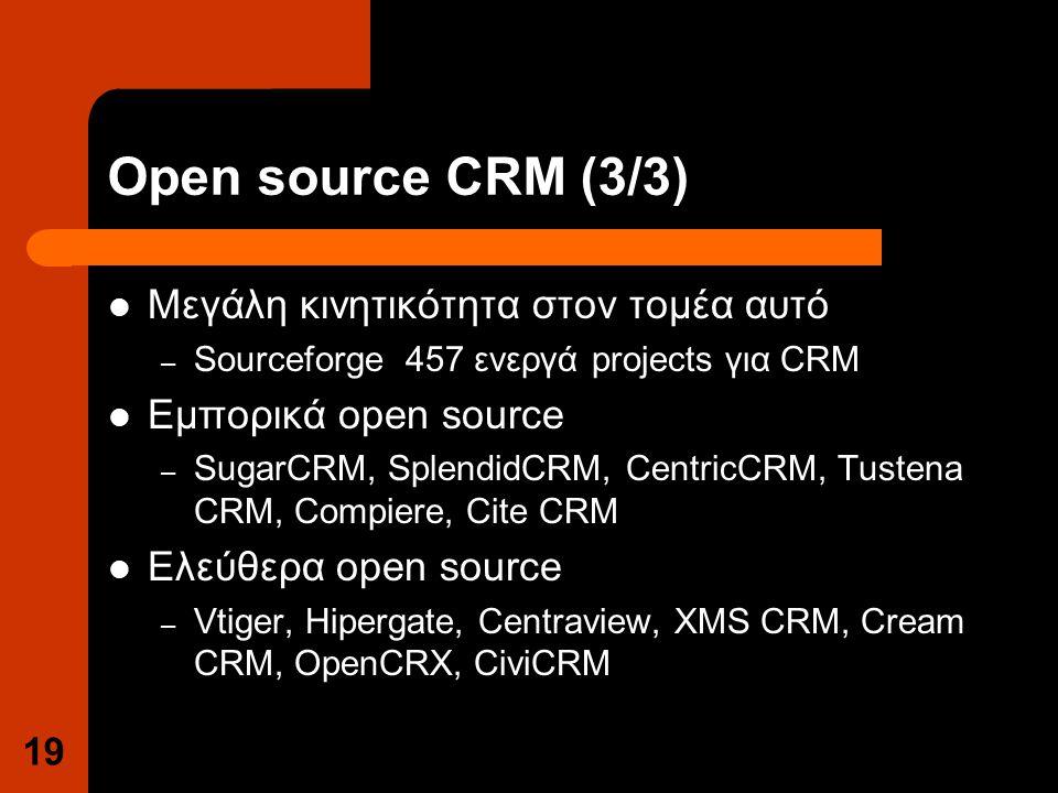 Open source CRM (3/3) Μεγάλη κινητικότητα στον τομέα αυτό – Sourceforge 457 ενεργά projects για CRM Εμπορικά open source – SugarCRM, SplendidCRM, CentricCRM, Tustena CRM, Compiere, Cite CRM Ελεύθερα open source – Vtiger, Hipergate, Centraview, XMS CRM, Cream CRM, OpenCRX, CiviCRM 19