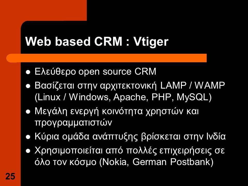 Web based CRM : Vtiger Ελεύθερο open source CRM Βασίζεται στην αρχιτεκτονική LAMP / WAMP (Linux / Windows, Apache, PHP, MySQL) Μεγάλη ενεργή κοινότητα χρηστών και προγραμματιστών Κύρια ομάδα ανάπτυξης βρίσκεται στην Ινδία Χρησιμοποιείται από πολλές επιχειρήσεις σε όλο τον κόσμο (Nokia, German Postbank) 25