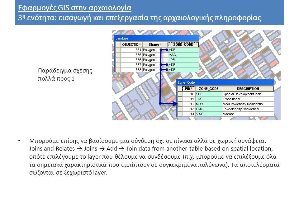 Εφαρμογές GIS στην αρχαιολογία 3 η ενότητα: εισαγωγή και επεξεργασία της αρχαιολογικής πληροφορίας Μπορούμε επίσης να βασίσουμε μια σύνδεση όχι σε πίνακα αλλά σε χωρική συνάφεια: Joins and Relates → Joins → Add → Join data from another table based on spatial location, οπότε επιλέγουμε το layer που θέλουμε να συνδέσουμε (π.χ.