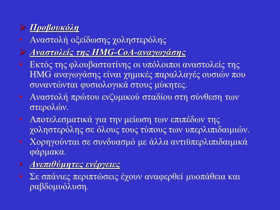  Προβουκόλη Αναστολή οξείδωσης χοληστερόλης  Αναστολείς της HMG-CoA-αναγωγάσης Εκτός της φλουβαστατίνης οι υπόλοιποι αναστολείς της HMG αναγωγάσης ε