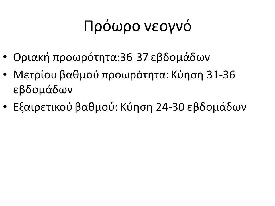 Πρόωρο νεογνό Οριακή προωρότητα:36-37 εβδομάδων Μετρίου βαθμού προωρότητα: Κύηση 31-36 εβδομάδων Εξαιρετικού βαθμού: Κύηση 24-30 εβδομάδων
