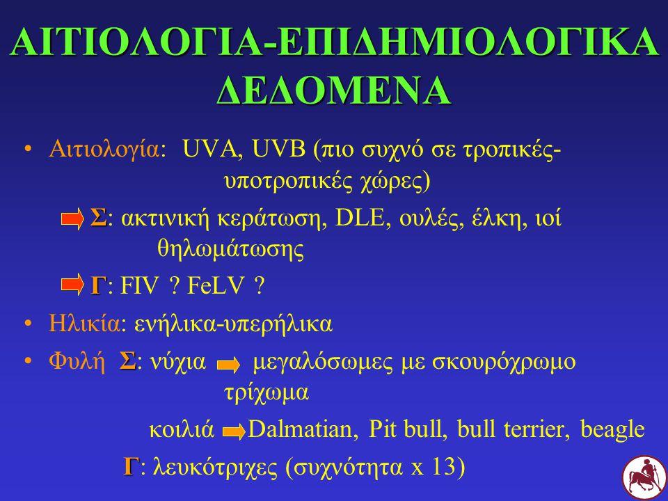 ΑΙΤΙΟΛΟΓΙΑ-ΕΠΙΔΗΜΙΟΛΟΓΙΚΑ ΔΕΔΟΜΕΝΑ Αιτιολογία: UVA, UVB (πιο συχνό σε τροπικές- υποτροπικές χώρες) Σ Σ: ακτινική κεράτωση, DLE, ουλές, έλκη, ιοί θηλωμ