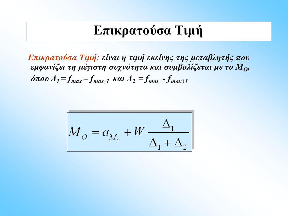 Επικρατούσα Τιμή: είναι η τιμή εκείνης της μεταβλητής που εμφανίζει τη μέγιστη συχνότητα και συμβολίζεται με το Μ Ο, όπου Δ 1 = f max – f max-1 και Δ