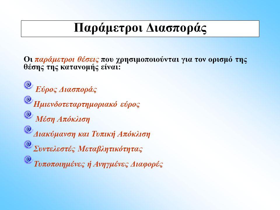 Παράμετροι Διασποράς Οι παράμετροι θέσεις που χρησιμοποιούνται για τον ορισμό της θέσης της κατανομής είναι: Εύρος Διασποράς Ημιενδοτεταρτημοριακό εύρ