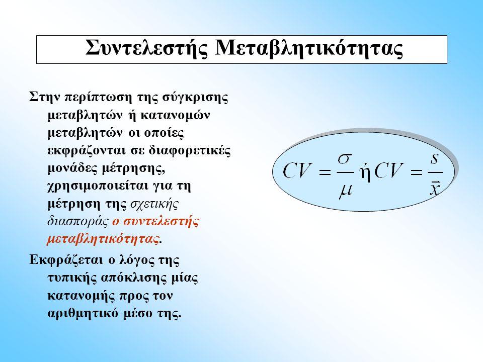 Στην περίπτωση της σύγκρισης μεταβλητών ή κατανομών μεταβλητών οι οποίες εκφράζονται σε διαφορετικές μονάδες μέτρησης, χρησιμοποιείται για τη μέτρηση
