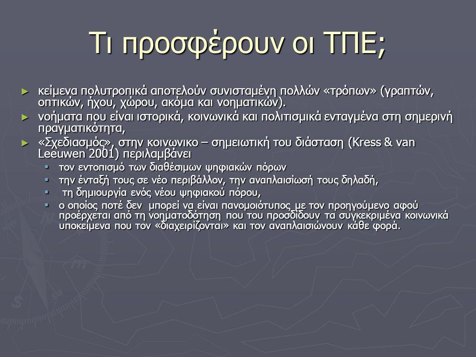 Τι προσφέρουν οι ΤΠΕ; ► κείμενα πολυτροπικά αποτελούν συνισταμένη πολλών «τρόπων» (γραπτών, οπτικών, ήχου, χώρου, ακόμα και νοηματικών).