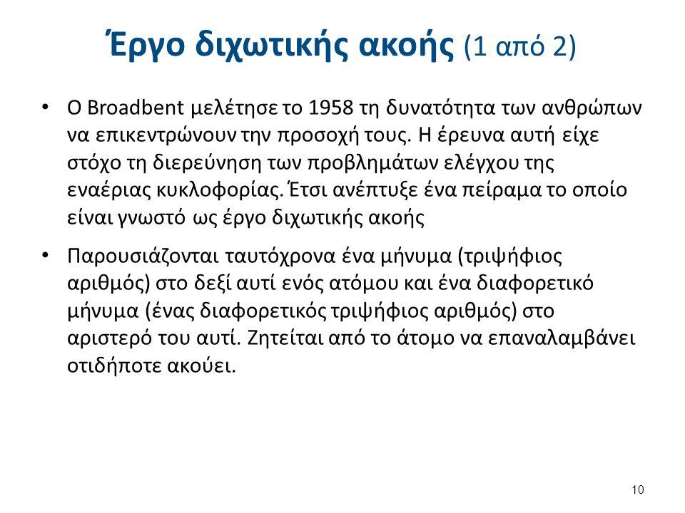 Έργο διχωτικής ακοής (1 από 2) O Broadbent μελέτησε το 1958 τη δυνατότητα των ανθρώπων να επικεντρώνουν την προσοχή τους. Η έρευνα αυτή είχε στόχο τη
