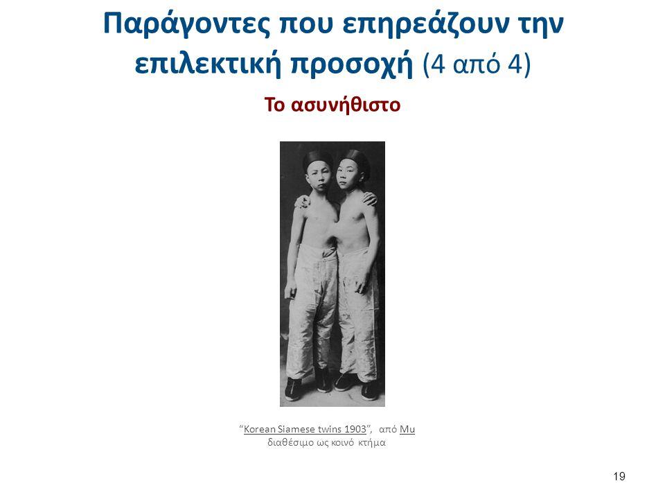 """Παράγοντες που επηρεάζουν την επιλεκτική προσοχή (4 από 4) Το ασυνήθιστο 19 """"Korean Siamese twins 1903"""", από Mu διαθέσιμο ως κοινό κτήμαKorean Siamese"""