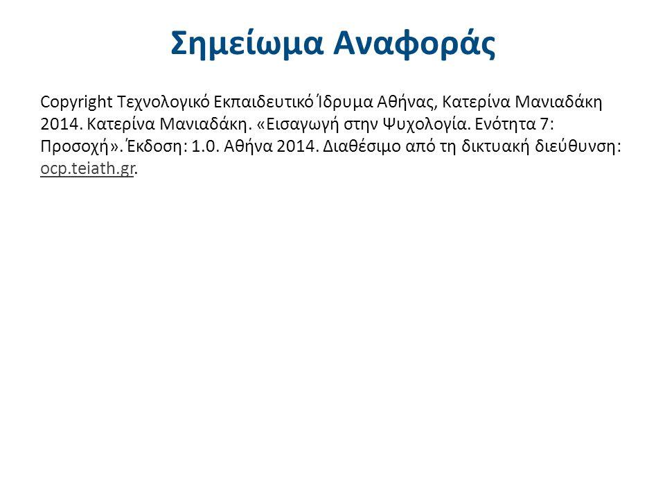 Σημείωμα Αναφοράς Copyright Τεχνολογικό Εκπαιδευτικό Ίδρυμα Αθήνας, Κατερίνα Μανιαδάκη 2014. Κατερίνα Μανιαδάκη. «Εισαγωγή στην Ψυχολογία. Ενότητα 7: