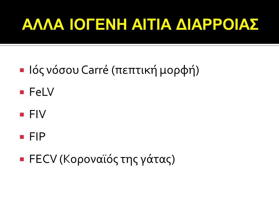  Ιός νόσου Carré (πεπτική μορφή)  FeLV  FIV  FIP  FECV (Κοροναϊός της γάτας)