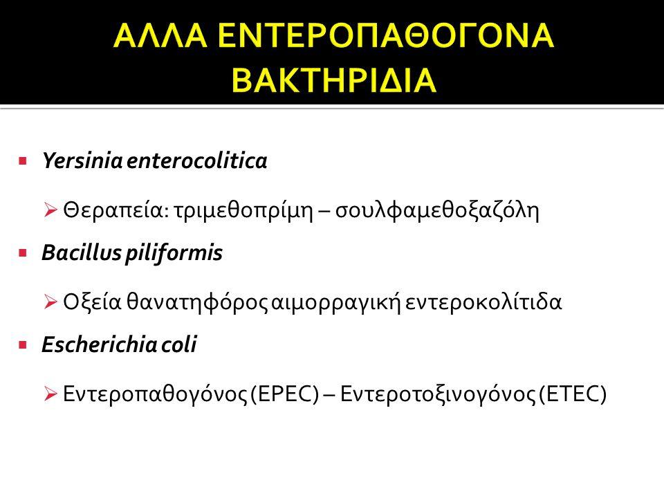  Yersinia enterocolitica  Θεραπεία: τριμεθοπρίμη – σουλφαμεθοξαζόλη  Bacillus piliformis  Οξεία θανατηφόρος αιμορραγική εντεροκολίτιδα  Escherichia coli  Εντεροπαθογόνος (EPEC) – Εντεροτοξινογόνος (ETEC)