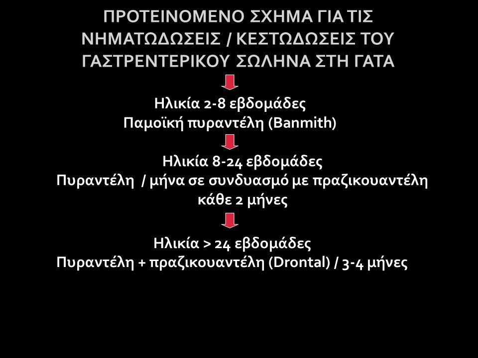 ΠΡΟΤΕΙΝΟΜΕΝΟ ΣΧΗΜΑ ΓΙΑ ΤΙΣ ΝΗΜΑΤΩΔΩΣΕΙΣ / ΚΕΣΤΩΔΩΣΕΙΣ ΤΟΥ ΓΑΣΤΡΕΝΤΕΡΙΚΟΥ ΣΩΛΗΝΑ ΣΤΗ ΓΑΤΑ Ηλικία 2-8 εβδομάδες Παμοϊκή πυραντέλη (Banmith) Ηλικία 8-24 εβδομάδες Πυραντέλη / μήνα σε συνδυασμό με πραζικουαντέλη κάθε 2 μήνες Ηλικία > 24 εβδομάδες Πυραντέλη + πραζικουαντέλη (Drontal) / 3-4 μήνες