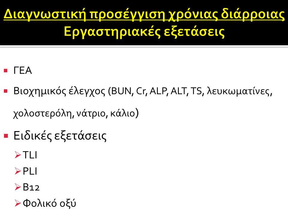  ΓΕΑ  Βιοχημικός έλεγχος ( BUN, Cr, ALP, ALT, TS, λευκωματίνες, χολοστερόλη, νάτριο, κάλιο )  Ειδικές εξετάσεις  TLI  PLI  B12  Φολικό οξύ