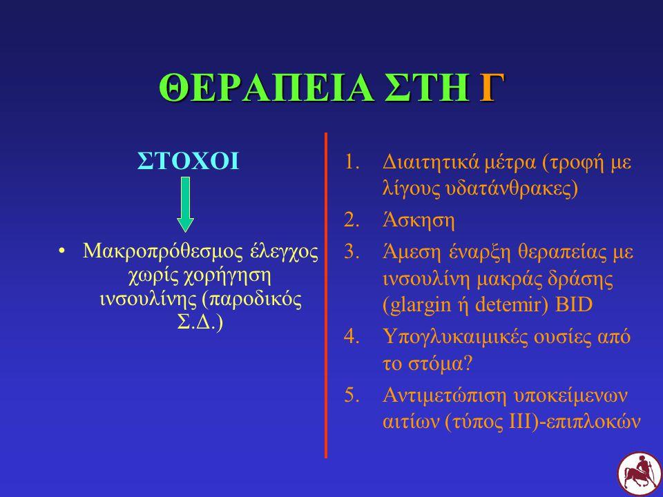 ΘΕΡΑΠΕΙΑ ΣΤΗ Γ ΣΤΟΧΟΙ Μακροπρόθεσμος έλεγχος χωρίς χορήγηση ινσουλίνης (παροδικός Σ.Δ.) 1.Διαιτητικά μέτρα (τροφή με λίγους υδατάνθρακες) 2.Άσκηση 3.Ά