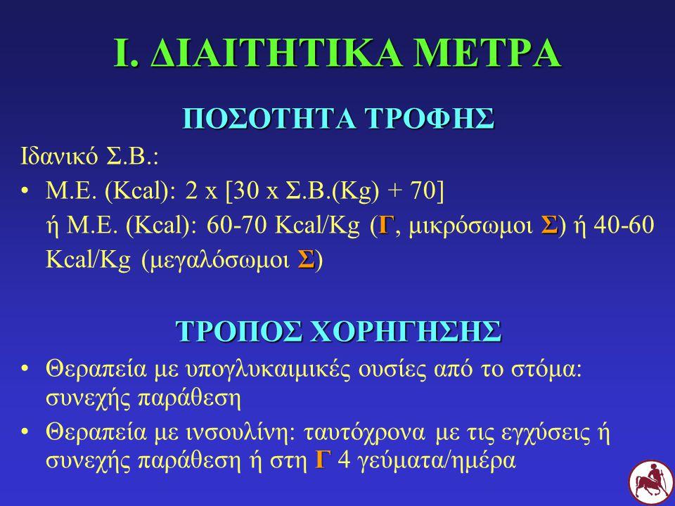 I. ΔΙΑΙΤΗΤΙΚΑ ΜΕΤΡΑ ΠΟΣΟΤΗΤΑ ΤΡΟΦΗΣ Ιδανικό Σ.Β.: Μ.Ε. (Kcal): 2 x [30 x Σ.Β.(Kg) + 70] ΓΣ ή Μ.Ε. (Kcal): 60-70 Kcal/Kg (Γ, μικρόσωμοι Σ) ή 40-60 Σ Kc