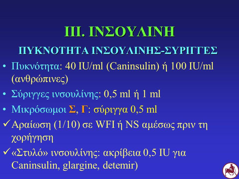 ΙΙΙ. ΙΝΣΟΥΛΙΝΗ ΠΥΚΝΟΤΗΤΑ ΙΝΣΟΥΛΙΝΗΣ-ΣΥΡΙΓΓΕΣ Πυκνότητα: 40 IU/ml (Caninsulin) ή 100 IU/ml (ανθρώπινες) Σύριγγες ινσουλίνης: 0,5 ml ή 1 ml ΣΓΜικρόσωμοι