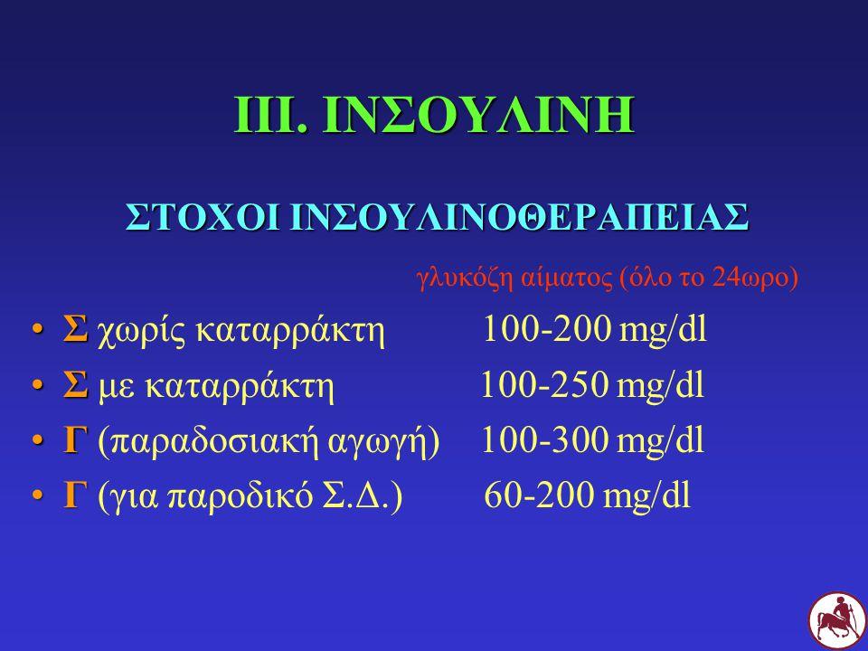 ΙΙΙ. ΙΝΣΟΥΛΙΝΗ ΣΤΟΧΟΙ ΙΝΣΟΥΛΙΝΟΘΕΡΑΠΕΙΑΣ γλυκόζη αίματος (όλο το 24ωρο) ΣΣ χωρίς καταρράκτη 100-200 mg/dl ΣΣ με καταρράκτη 100-250 mg/dl ΓΓ (παραδοσια