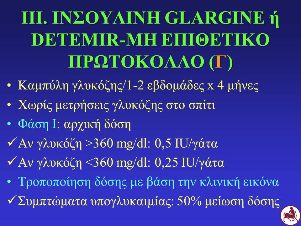 ΙΙΙ. ΙΝΣΟΥΛΙΝΗ GLARGINE ή DETEMIR-ΜΗ ΕΠΙΘΕΤΙΚΟ ΠΡΩΤΟΚΟΛΛΟ (Γ) Καμπύλη γλυκόζης/1-2 εβδομάδες x 4 μήνες Χωρίς μετρήσεις γλυκόζης στο σπίτι Φάση Ι: αρχι