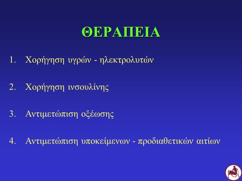 ΘΕΡΑΠΕΙΑ 1.Χορήγηση υγρών - ηλεκτρολυτών 2.Χορήγηση ινσουλίνης 3.Αντιμετώπιση οξέωσης 4.Αντιμετώπιση υποκείμενων - προδιαθετικών αιτίων