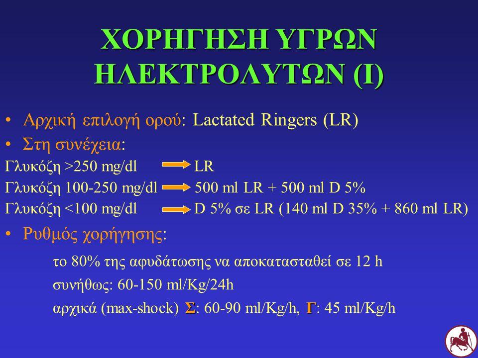 ΧΟΡΗΓΗΣΗ ΥΓΡΩΝ ΗΛΕΚΤΡΟΛΥΤΩΝ (Ι) Αρχική επιλογή ορού: Lactated Ringers (LR) Στη συνέχεια: Γλυκόζη >250 mg/dl LR Γλυκόζη 100-250 mg/dl 500 ml LR + 500 m