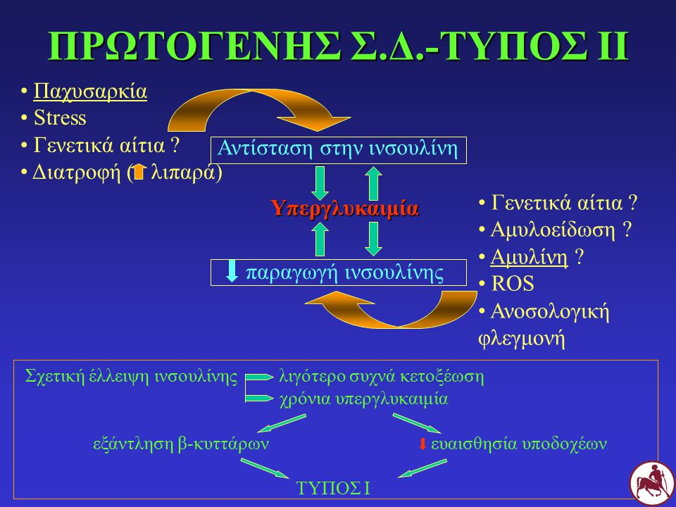 ΠΡΩΤΟΓΕΝΗΣ Σ.Δ.-ΤΥΠΟΣ ΙΙ Σχετική έλλειψη ινσουλίνης λιγότερο συχνά κετοξέωση χρόνια υπεργλυκαιμία εξάντληση β-κυττάρωνευαισθησία υποδοχέων ΤΥΠΟΣ Ι Παχ
