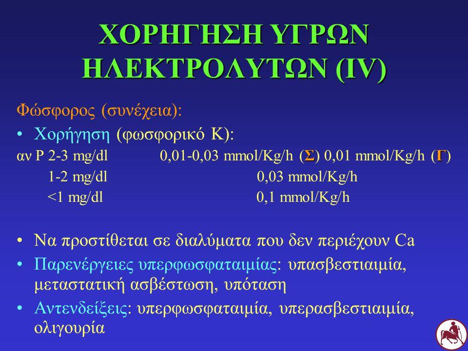 ΧΟΡΗΓΗΣΗ ΥΓΡΩΝ ΗΛΕΚΤΡΟΛΥΤΩΝ (IV) Φώσφορος (συνέχεια): Χορήγηση (φωσφορικό Κ): ΣΓ αν Ρ 2-3 mg/dl 0,01-0,03 mmol/Kg/h (Σ) 0,01 mmol/Kg/h (Γ) 1-2 mg/dl 0