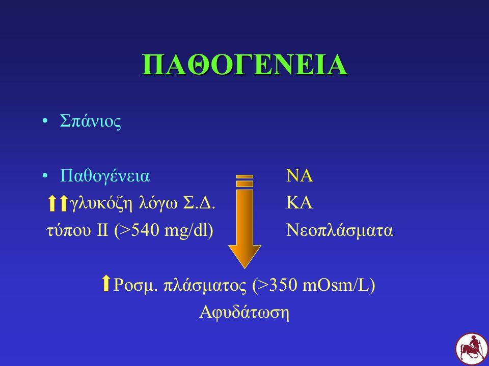 ΠΑΘΟΓΕΝΕΙΑ Σπάνιος ΠαθογένειαNA γλυκόζη λόγω Σ.Δ.ΚΑ τύπου ΙΙ (>540 mg/dl)Νεοπλάσματα Pοσμ. πλάσματος (>350 mOsm/L) Αφυδάτωση