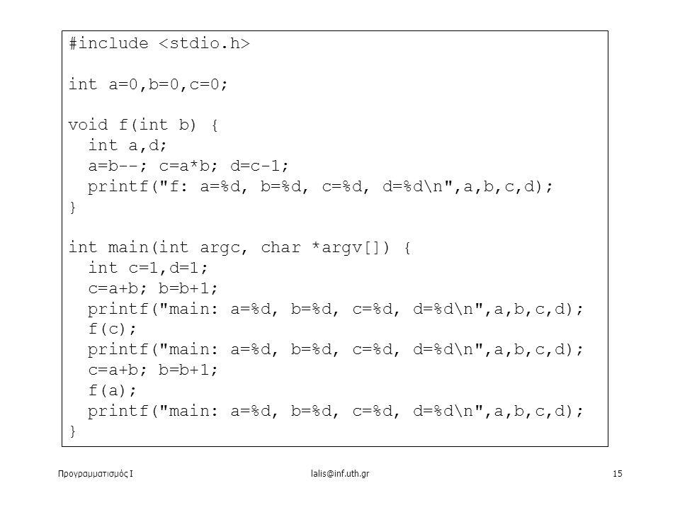 Προγραμματισμός Ιlalis@inf.uth.gr15 #include int a=0,b=0,c=0; void f(int b) { int a,d; a=b--; c=a*b; d=c-1; printf( f: a=%d, b=%d, c=%d, d=%d\n ,a,b,c,d); } int main(int argc, char *argv[]) { int c=1,d=1; c=a+b; b=b+1; printf( main: a=%d, b=%d, c=%d, d=%d\n ,a,b,c,d); f(c); printf( main: a=%d, b=%d, c=%d, d=%d\n ,a,b,c,d); c=a+b; b=b+1; f(a); printf( main: a=%d, b=%d, c=%d, d=%d\n ,a,b,c,d); }