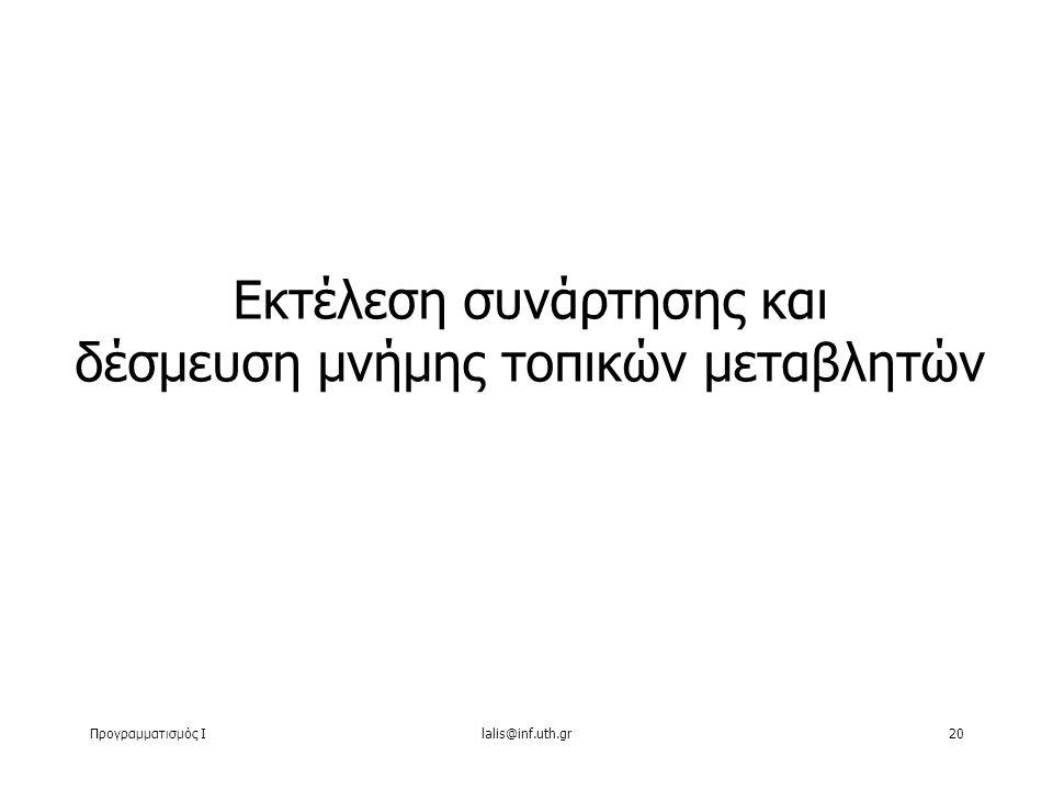 Προγραμματισμός Ιlalis@inf.uth.gr20 Εκτέλεση συνάρτησης και δέσμευση μνήμης τοπικών μεταβλητών