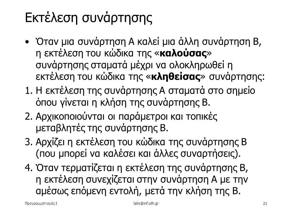 Προγραμματισμός Ιlalis@inf.uth.gr21 Eκτέλεση συνάρτησης Όταν μια συνάρτηση Α καλεί μια άλλη συνάρτηση Β, η εκτέλεση του κώδικα της «καλούσας» συνάρτησης σταματά μέχρι να ολοκληρωθεί η εκτέλεση του κώδικα της «κληθείσας» συνάρτησης: 1.Η εκτέλεση της συνάρτησης Α σταματά στο σημείο όπου γίνεται η κλήση της συνάρτησης Β.