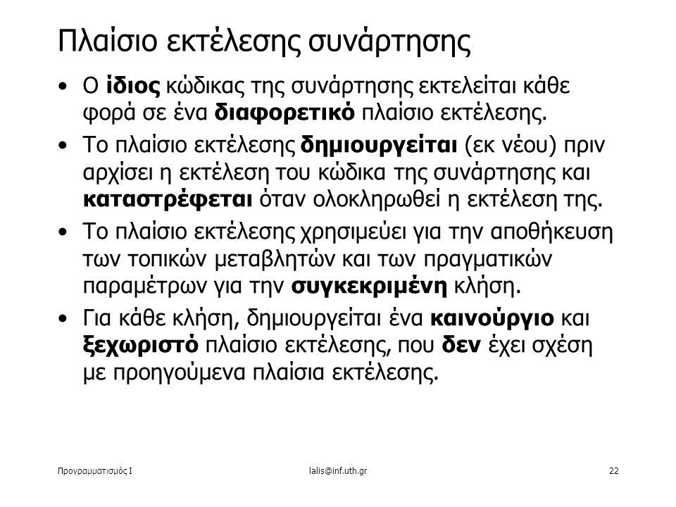 Προγραμματισμός Ιlalis@inf.uth.gr22 Ο ίδιος κώδικας της συνάρτησης εκτελείται κάθε φορά σε ένα διαφορετικό πλαίσιο εκτέλεσης.