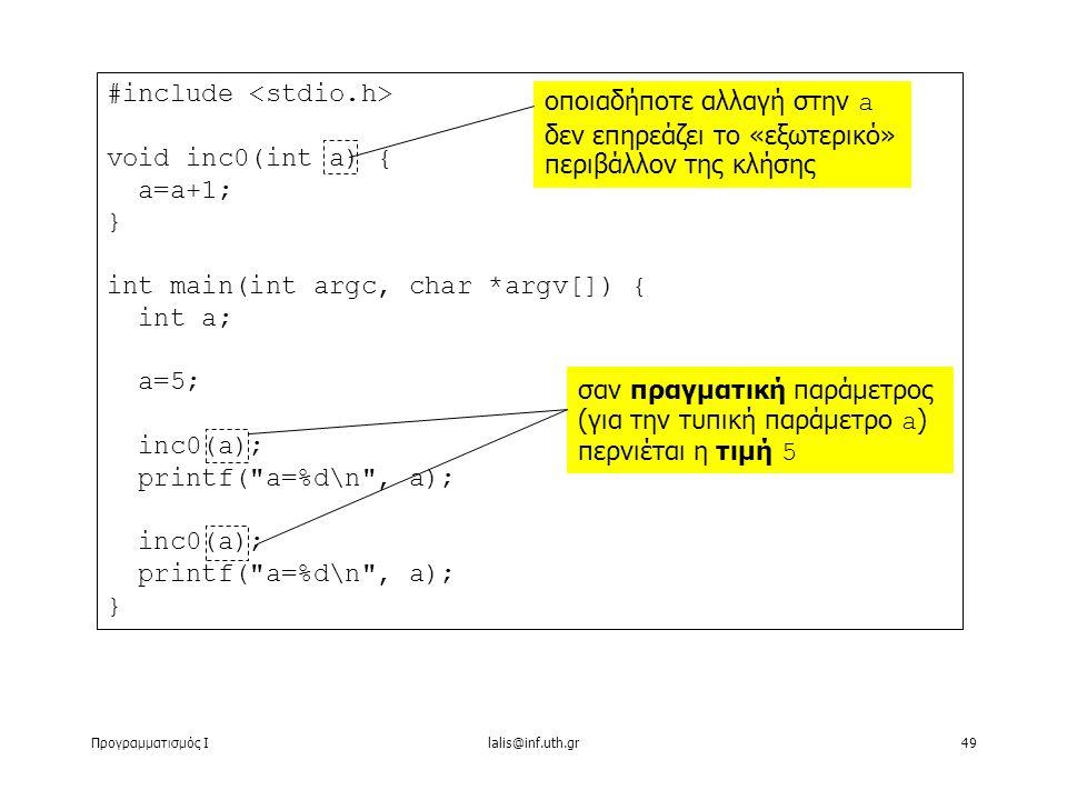 Προγραμματισμός Ιlalis@inf.uth.gr49 #include void inc0(int a) { a=a+1; } int main(int argc, char *argv[]) { int a; a=5; inc0(a); printf( a=%d\n , a); inc0(a); printf( a=%d\n , a); } οποιαδήποτε αλλαγή στην a δεν επηρεάζει το «εξωτερικό» περιβάλλον της κλήσης σαν πραγματική παράμετρος (για την τυπική παράμετρο a ) περνιέται η τιμή 5