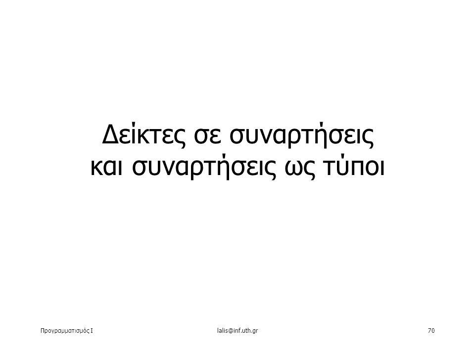 Προγραμματισμός Ιlalis@inf.uth.gr70 Δείκτες σε συναρτήσεις και συναρτήσεις ως τύποι