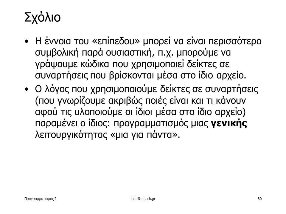 Προγραμματισμός Ιlalis@inf.uth.gr80 Η έννοια του «επίπεδου» μπορεί να είναι περισσότερο συμβολική παρά ουσιαστική, π.χ.