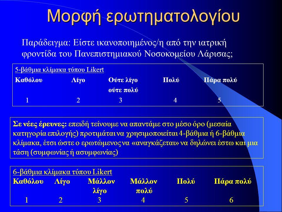 Μορφή ερωτηματολογίου 5-βάθμια κλίμακα τύπου Likert Καθόλου Λίγο Ούτε λίγο Πολύ Πάρα πολύ ούτε πολύ 1 2 3 4 5 6-βάθμια κλίμακα τύπου Likert Καθόλου Λί
