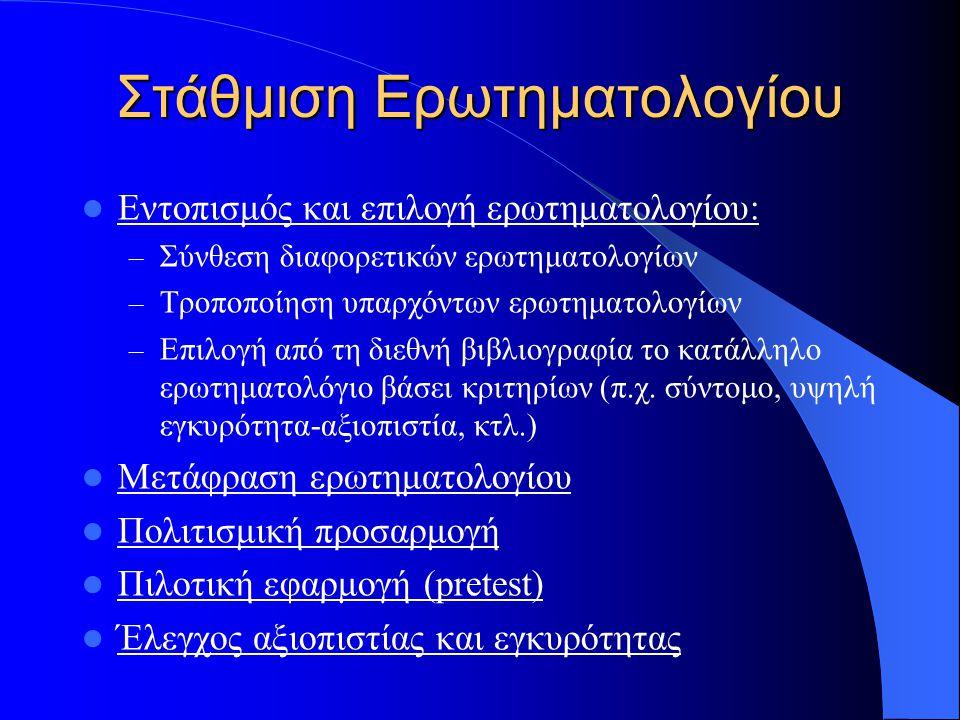 Στάθμιση Ερωτηματολογίου Εντοπισμός και επιλογή ερωτηματολογίου: – Σύνθεση διαφορετικών ερωτηματολογίων – Τροποποίηση υπαρχόντων ερωτηματολογίων – Επι