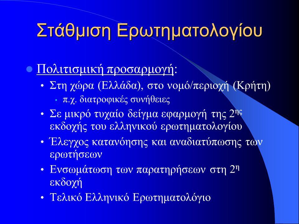 Στάθμιση Ερωτηματολογίου Πολιτισμική προσαρμογή: Στη χώρα (Ελλάδα), στο νομό/περιοχή (Κρήτη) π.χ. διατροφικές συνήθειες Σε μικρό τυχαίο δείγμα εφαρμογ