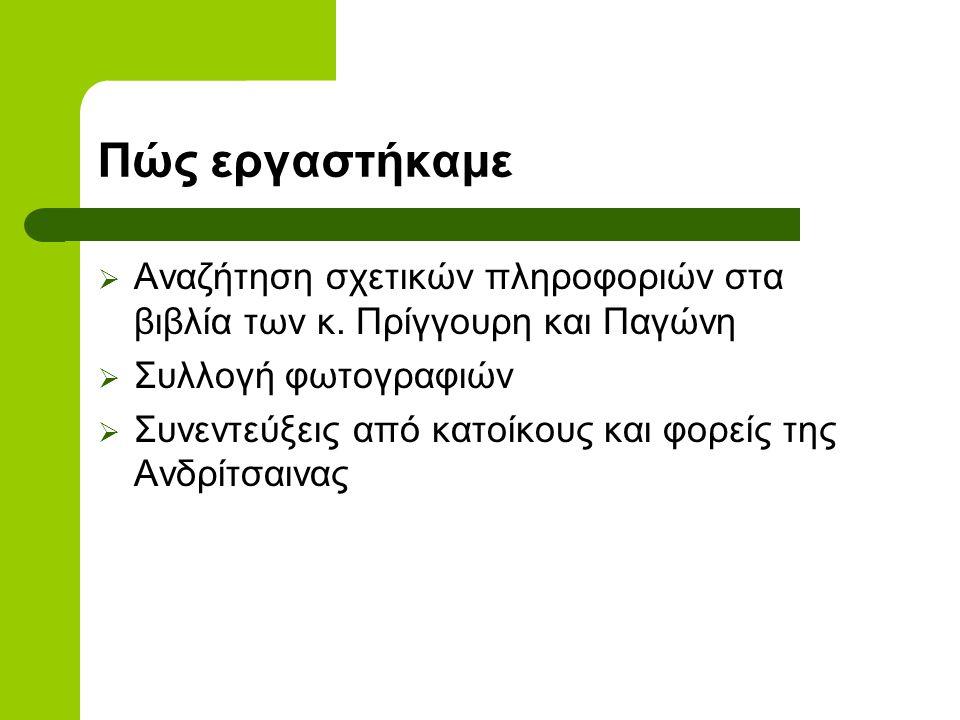 Περιβαλλοντικό πρόγραμμα 2008-2009  Η ΟΙΚΟΝΟΜΙΚΗ ΖΩΗ ΤΗΣ ΑΝΔΡΙΤΣΑΙΝΑΣ Τζίρος Πολυχρόνης Βασίλακα Βούλα Τζίρου Γεωργία Αποστολόπουλος Γιώργος Καστής Σ