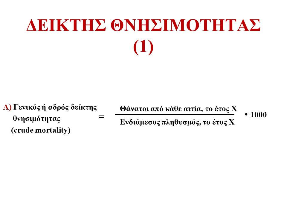 ΔΕΙΚΤΗΣ ΘΝΗΣΙΜΟΤΗΤΑΣ (1) Α) Γενικός ή αδρός δείκτης θνησιμότητας (crude mortality) Θάνατοι από κάθε αιτία, το έτος Χ Ενδιάμεσος πληθυσμός, το έτος Χ 1