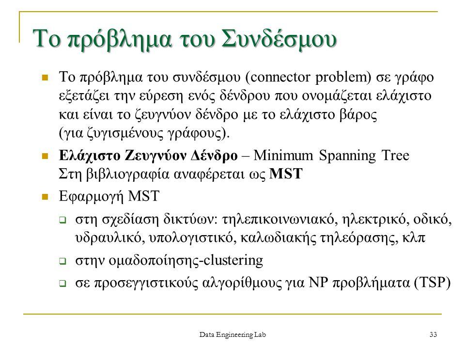 Data Engineering Lab Το πρόβλημα του Συνδέσμου Το πρόβλημα του συνδέσμου (connector problem) σε γράφο εξετάζει την εύρεση ενός δένδρου που ονομάζεται ελάχιστο και είναι το ζευγνύον δένδρο με το ελάχιστο βάρος (για ζυγισμένους γράφους).