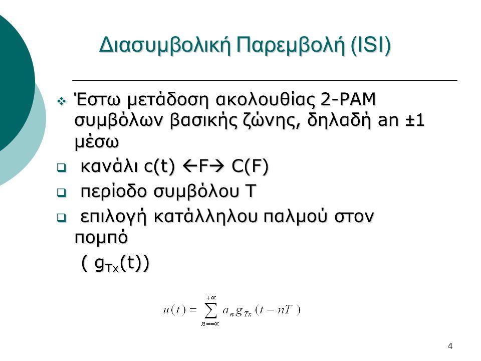 4 Διασυμβολική Παρεμβολή (ISI)  Έστω μετάδοση ακολουθίας 2-PAM συμβόλων βασικής ζώνης, δηλαδή an ±1 μέσω  κανάλι c(t)  F  C(F)  περίοδο συμβόλου Τ  επιλογή κατάλληλου παλμού στον πομπό ( g Tx (t)) ( g Tx (t))