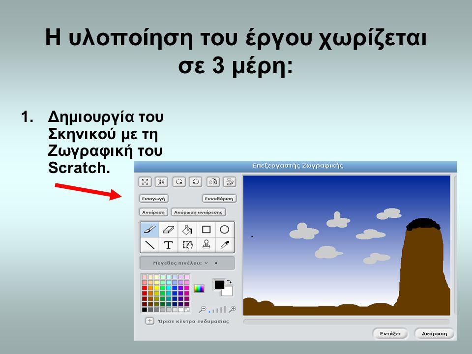 Η υλοποίηση του έργου χωρίζεται σε 3 μέρη: 1.Δημιουργία του Σκηνικού με τη Ζωγραφική του Scratch.