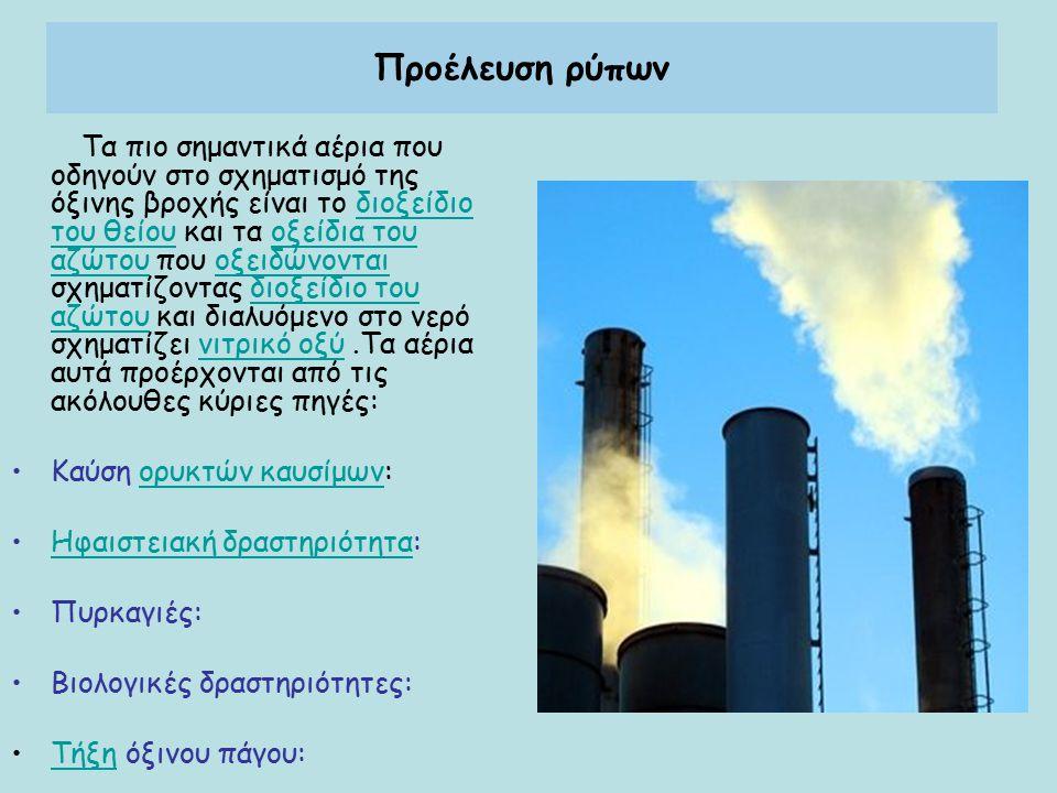 Προέλευση ρύπων Τα πιο σημαντικά αέρια που οδηγούν στο σχηματισμό της όξινης βροχής είναι το διοξείδιο του θείου και τα οξείδια του αζώτου που οξειδώνονται σχηματίζοντας διοξείδιο του αζώτου και διαλυόμενο στο νερό σχηματίζει νιτρικό οξύ.Τα αέρια αυτά προέρχονται από τις ακόλουθες κύριες πηγές:διοξείδιο του θείουοξείδια του αζώτουοξειδώνονταιδιοξείδιο του αζώτουνιτρικό οξύ Καύση ορυκτών καυσίμων:ορυκτών καυσίμων Ηφαιστειακή δραστηριότητα:Ηφαιστειακή δραστηριότητα Πυρκαγιές: Βιολογικές δραστηριότητες: Τήξη όξινου πάγου:Τήξη