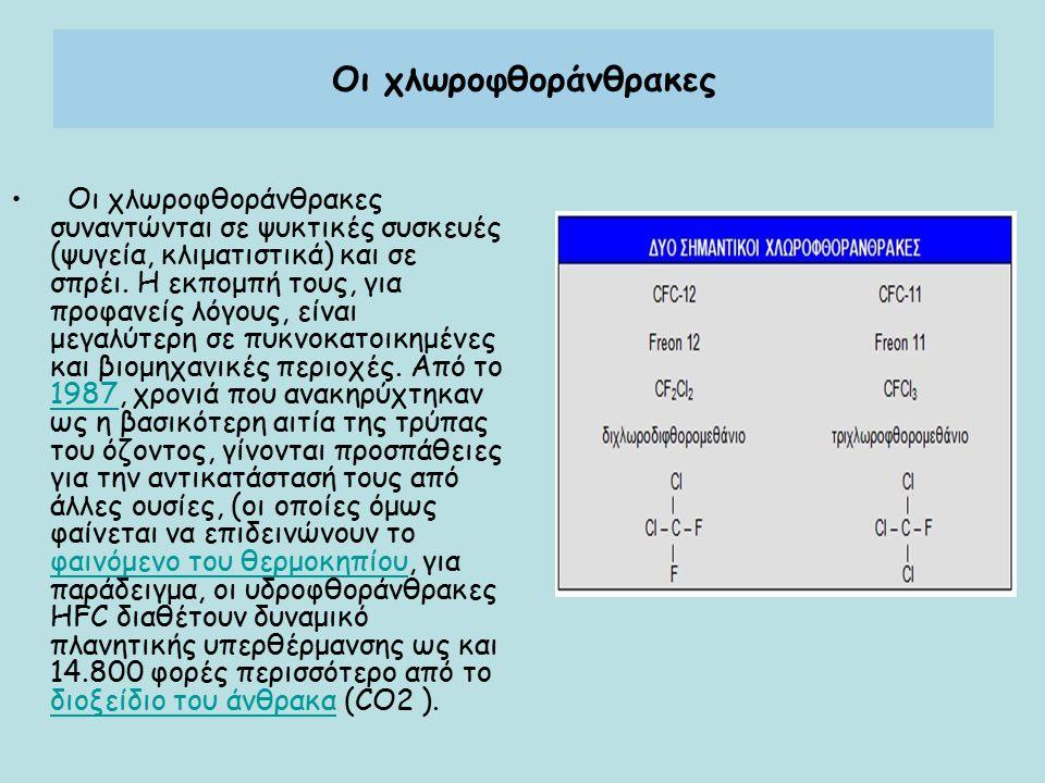 Οι χλωροφθοράνθρακες Οι χλωροφθοράνθρακες συναντώνται σε ψυκτικές συσκευές (ψυγεία, κλιματιστικά) και σε σπρέι. Η εκπομπή τους, για προφανείς λόγους,