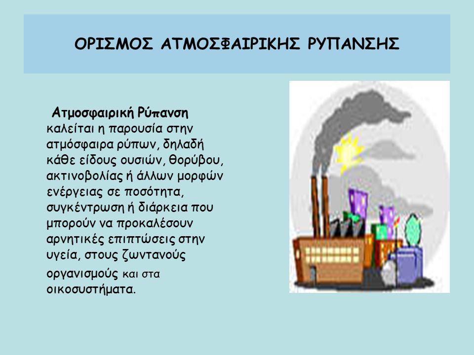 ΟΡΙΣΜΟΣ ΑΤΜΟΣΦΑΙΡΙΚΗΣ ΡΥΠΑΝΣΗΣ Ατμοσφαιρική Ρύπανση καλείται η παρουσία στην ατμόσφαιρα ρύπων, δηλαδή κάθε είδους ουσιών, θορύβου, ακτινοβολίας ή άλλων μορφών ενέργειας σε ποσότητα, συγκέντρωση ή διάρκεια που μπορούν να προκαλέσουν αρνητικές επιπτώσεις στην υγεία, στους ζωντανούς οργανισμούς και στα οικοσυστήματα.