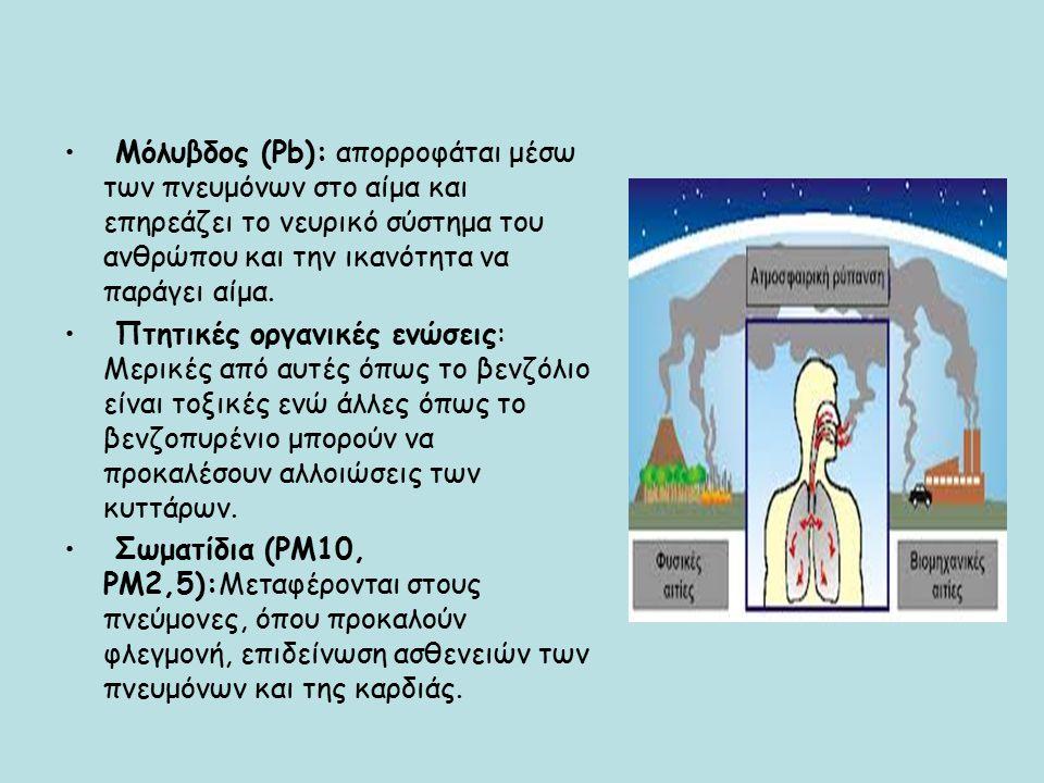 Μόλυβδος (Pb): απορροφάται μέσω των πνευμόνων στο αίμα και επηρεάζει το νευρικό σύστημα του ανθρώπου και την ικανότητα να παράγει αίμα.