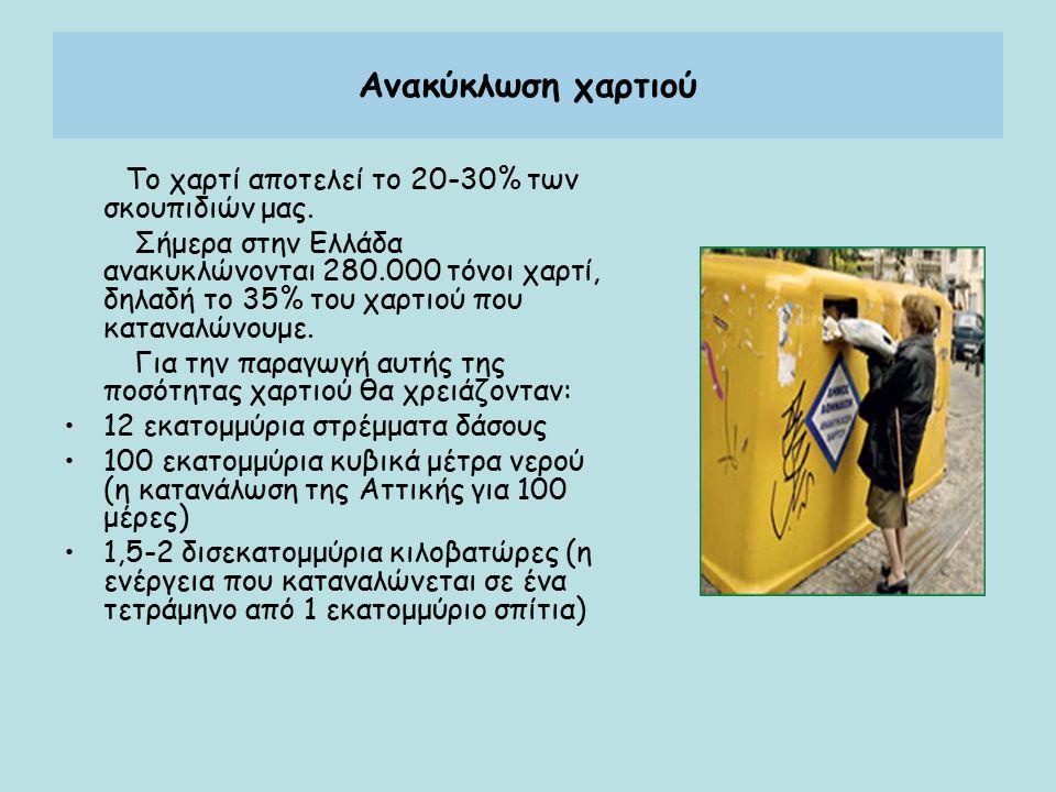 Ανακύκλωση χαρτιού Το χαρτί αποτελεί το 20-30% των σκουπιδιών μας. Σήμερα στην Ελλάδα ανακυκλώνονται 280.000 τόνοι χαρτί, δηλαδή το 35% του χαρτιού πο